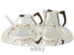 Service À Thé Et Café En Argent Sterling Avec Plateau, Style Design, Vintage