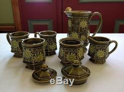 Set De Café Vintage Au Thé Japonais Vert Glacé Vert Olive 8 Pièces Antique Asiatique