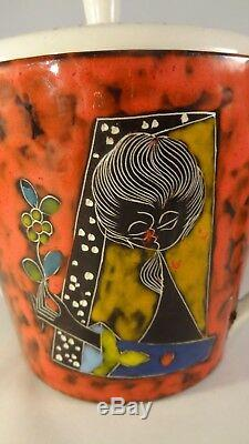 Set De Cafés Thé Sgraffito San Marino Vintage, Italie, Lava Lady Design Des Années 1960