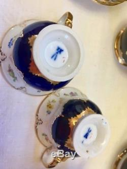 Set De Service En Porcelaine À Café Floral Bleu Et Cobalt Meissen