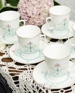 Soviet Vintage 5p Coffee Set, 5 Tasses Et Soucoupes, Porcelaine D'os Lomonosov, Lfz