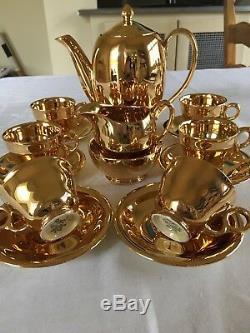 Superbe Ensemble De Café Royal Lustre Vintage Royal Winton Grimwades Pour Six