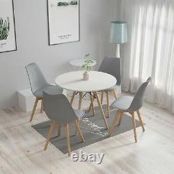 Table À Manger En Bois Et Chaises Rembourrées Kitchenette Home Salle À Manger Set De Café Moderne