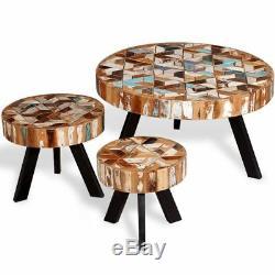 Table Basse Vintage Ronde Ensemble De 3 Meubles Style Retro En Bois De Récupération Massifs