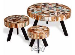 Table Basse Vintage Ronde Ensemble De 3 Tables D'appoint Meubles Rétro En Fer Rustique En Bois
