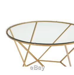 Tables D'appoint En Verre Avec Dessus De Table Basse En Métal Vintage, Meubles De Luxe En Or