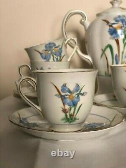 Thé Millésimé / Ensemble De Café Toscane Fine English Bone China Blue Iris