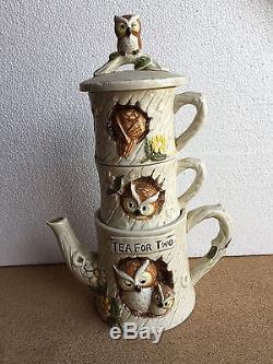 Thé Pour Deux Vintage Owl Set Cafetière Et Tasses Empilables Cabane Dans Les Arbres Japon