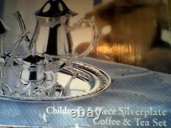 Towle 5 Pièces En Argent Pour Enfants Cafe & Tea Set Vintage 1990's