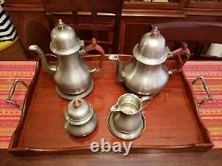 Trouva Ment Très Rare ! John Somers Brazil Vtg Pewter 8 Pc Coffee Tea Set Withwood Tray