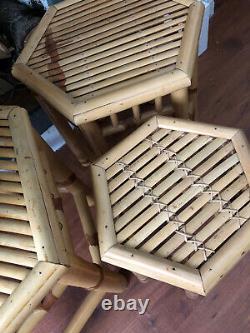 Vieille Canne En Bambou Rattan Café Boho Tables Latérales Rétro, Set De 3 Art Déco