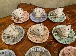 Vintage 10 Tasses 10 Soucoupes Allemand Lindner Kueps Bavaria Porcelain Coffee Set