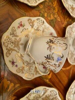 Vintage 12 Tasses 12 Saucers German Bavaria Zeh Scherzer Coffret De Porcelaine