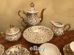 Vintage 12 Tasses 12 Soucoupes Allemand Bavaria Sucrier Milk Cup Jug Bowl Set Café