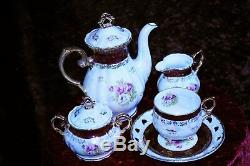 Vintage 15 Piece Chine Café Scénographie ' Japanese'fresh Mother Of Pearl Effect
