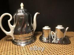 Vintage 1950 Hke De L'allemagne À Thé En Porcelaine / Set Café Avec Des Couvertures De Plaques Sterling /