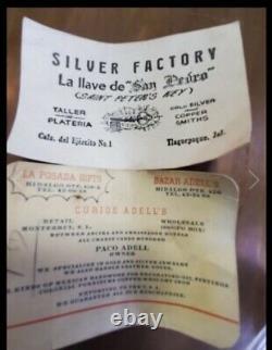 Vintage 1950s 60s Cuivre Et Laiton Café / Thé Serti Mexicain Silversmith