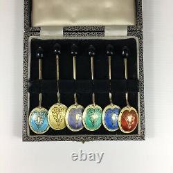 Vintage 1972 Solid Silver Guilloche Émail Ensemble De 6 Cuillères À Grains De Café 9.5cm