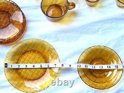 Vintage 30 Pièces Amber Set Service De Thé Et De Café, Tasses À Café Et Assiettes Latérales