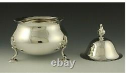 Vintage 3pc Tiffany & Co Heavy Sterling Silver Tea Coffee Set Flame Finials