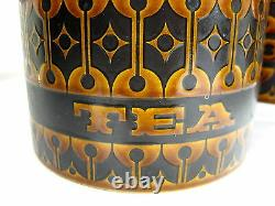 Vintage 4 Pièces Hornsea England Heirloom Brown Set Farine, Sucre, Thé, Café
