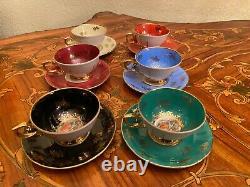 Vintage 6 Tasses 6 Soucoupes Allemandes R Bavaria Porcelain Coffee Set