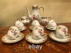 Vintage 6 Tasses 6 Soucoupes Bavière Allemande Mitterteich Ensemble De Café En Porcelaine