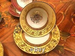 Vintage 7 Tasses 7 Soucoupe Allemande Bavière Gkc Porcelaine Set Café