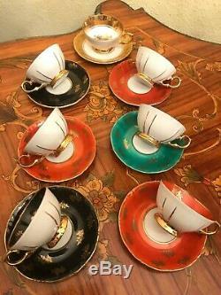 Vintage 7 Tasses 7 Soucoupe En Porcelaine Allemande Bavière Set Café