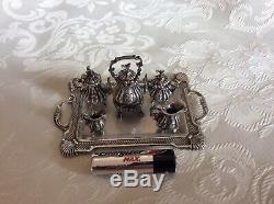 Vintage 925 Thé Miniature En Argent Sterling Service / À Café, 925 Plateau