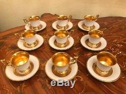 Vintage 9 Coupes Soucoupes Allemagne Bavière Heinrich Porcelaine En Or Blanc Serti Café