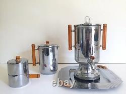 Vintage Années 1930 Art Déco Farberware Chrome Bakelite Coffee & Tea Service 8pc Set