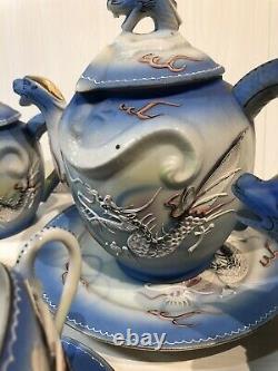 Vintage Années 1940 Japonais Dragon Ware Moriage Poudre Blue Porcelain Tea Coffee Set