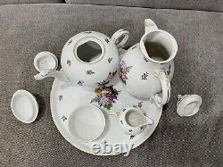 Vintage Antique Allemand Nymphenburg Porcelaine / Service De Set De Café Avec Plateau