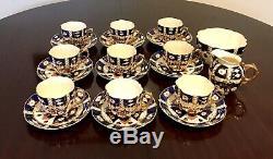 Vintage Antique Aynsley Bone China # 6987 Ancien Ensemble Et Assiettes À Café Imari (34 Pièces)