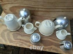 Vintage Art Déco Thé Café Lait Pots De Jug Sugar Bowl Set Rare Espace Âge 4 Articles