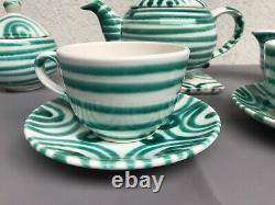 Vintage Autrichien Gmundner Keramik Green Stripe Tea & Coffee Set Marqué 8 Pcs