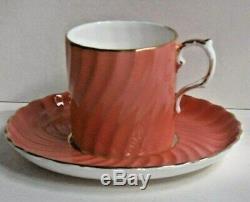 Vintage Aynsley Café Set Pot Sucrier Bol Cruche Canettes / Tasses Saumon Côtelé 126