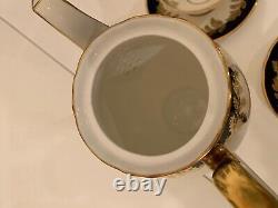 Vintage Aynsley Tea /coffee Set Pour 8 Cobalt/ Bleu/or/blanc. Angleterre