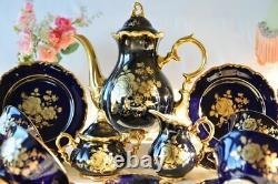 Vintage Bareuther Echt Cobalt Bavaria Porcelain Coffee Set 6 Tasses Allemagne 24 Pcs