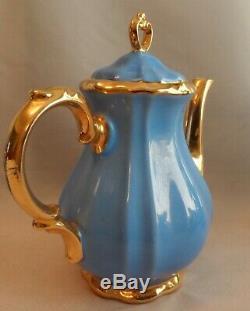 Vintage Bavière Allemagne Bleu Cobalt Or Filigrane 15 Piece Set Café