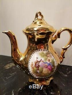 Vintage Bavière Waldershof Allemand Handarbeit 22 Carats D'or Tea Set Café 17 Pcs