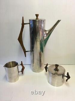 Vintage Bb Café / Tea Set Sugar Creamer Avec Poignées En Bois De Lard Estampées MCM Rare
