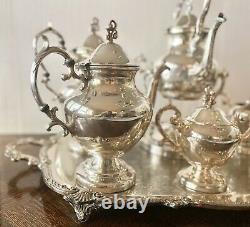 Vintage Birmingham Silver Co. 5pc Argent Sur Cuivre Tea & Cafe Set Avec Plateau
