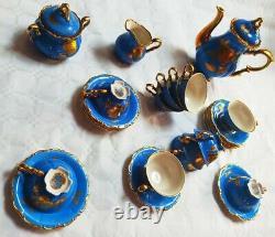 Vintage Blue & Or Gilded Bavière Waldershof Plein Thé / Café Set 12