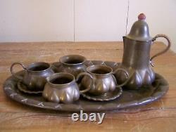 Vintage Brass Antique Thé / Café Plateau Allemand Designer Set Ignatius Taschner