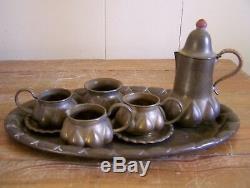 Vintage Brass Antique Thé / Café Plateau Set Designer Allemand Ignatius Taschner
