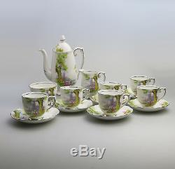 Vintage Café En Porcelaine Anglaise Roslyn China Peacehaven Lac Swan Set C. Années 1930
