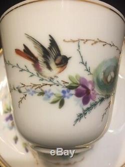 Vintage Café Set En Porcelaine Fine Et Peinte À La Main D'oiseaux Nest Motif Allemand 29 Pièces