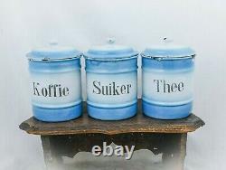 Vintage Canister Set Enamelware Café Sucre Thé Bleu Blanc Jaunes D'émanel Hollandais